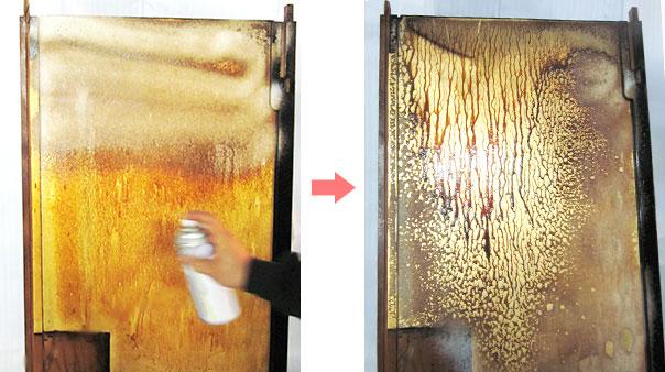 金箔部分の泡洗浄(特許工法)